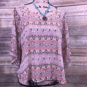 Crop boho floral blouse dolman sleeves medium